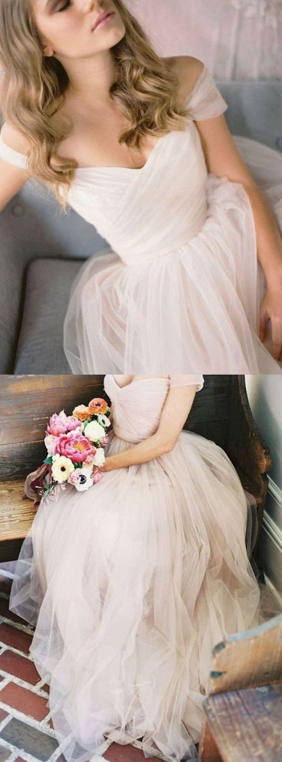 Wedding - Simple A-Line Off-Shoulder Tulle Long Prom/Wedding Dress