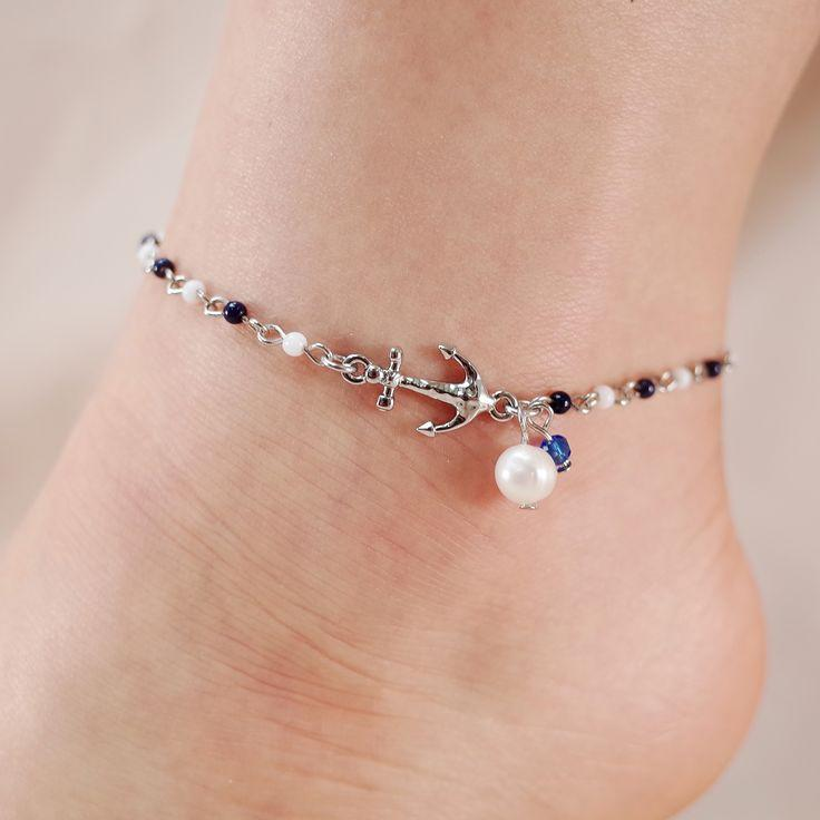 Hochzeit - Anchor And Pearl Chain Link Anklet