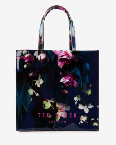 Wedding - Large Fuchsia Floral Shopper Bag - Dark Blue