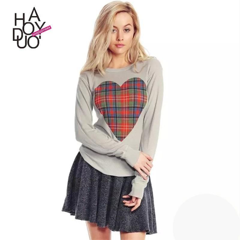 Wedding - 2017 spring new Vogue heart-shaped plaid print pullover T-Shirt - Bonny YZOZO Boutique Store
