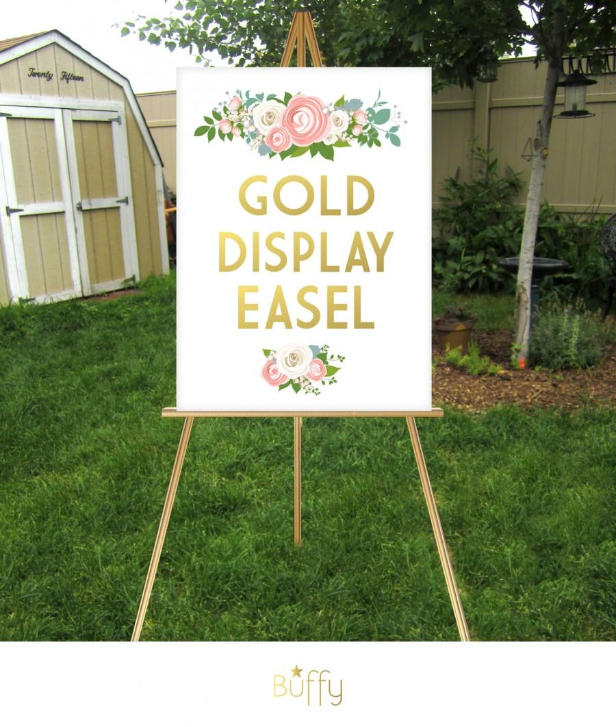 gold easel wooden 5ft floor display large wedding sign