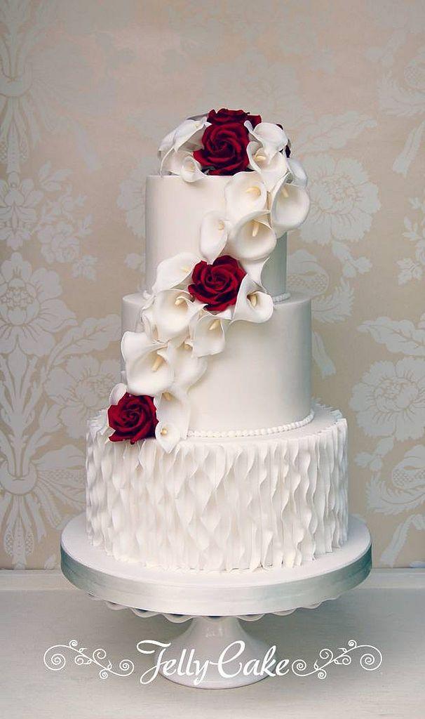 Свадьба - Calla Lily And Rose Wedding Cake