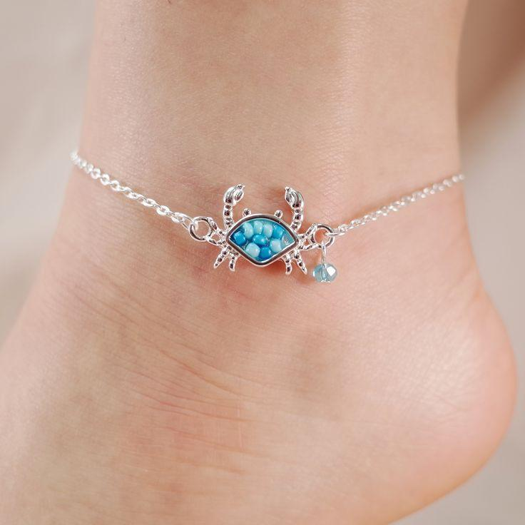 Hochzeit - Crab Seed Bead Chain Link Anklet