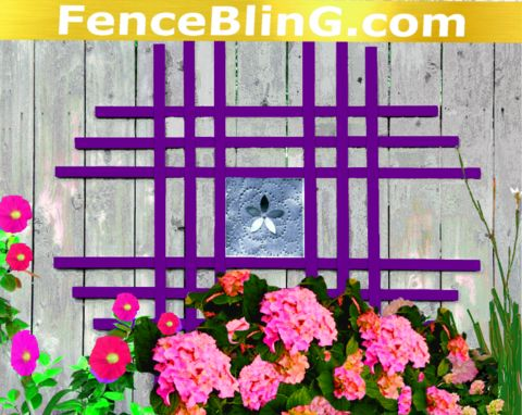 Outdoor Wall Art Metal Flower Insert Fence Bling In Purple 2713433