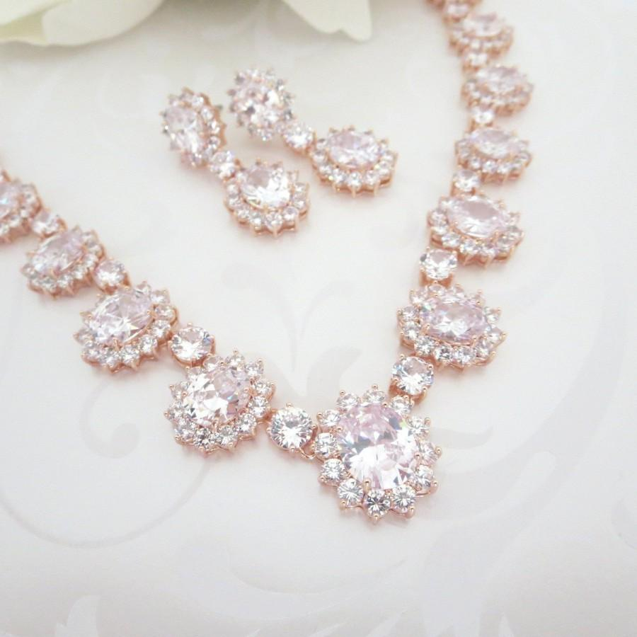 Свадьба - Rose Gold Wedding necklace, Rose Gold jewelry Set, Crystal Bridal necklace, Necklace set, Crystal Bridal earrings, Wedding jewelry