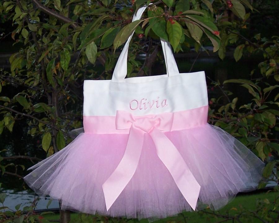 Свадьба - Personalized Tote bag, ballet bag, dance bag, embroidered tote bag, wedding tote bag, Princess tote bag, Naptime 21, MINI tutu bag, MTB21 F