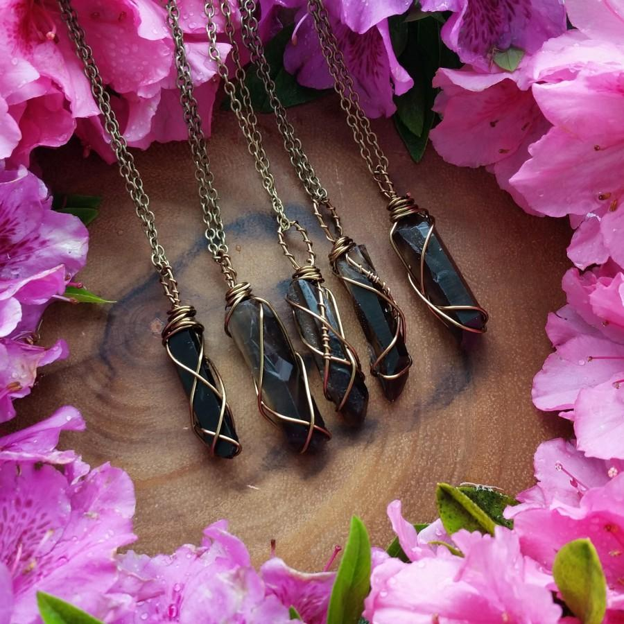 Свадьба - Smoky quartz, Smokey Quartz necklace, smokey quartz pendant, smokey quartz, quartz crystal, black crystal, grunge crystal, black quartz,