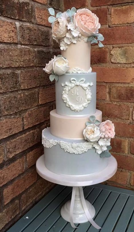 Four Tier Pastel Blue And Blush Wedding Cake 2713513
