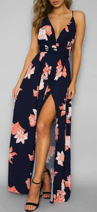 Wedding - Women's Backless Floral Printed High Slit Maxi Prom Dress - ACHICGIRL.COM