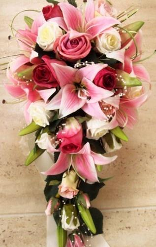Свадьба - WEDDING BOUQUET REAL TOUCH LILLIES PINK ROSES PEARLS
