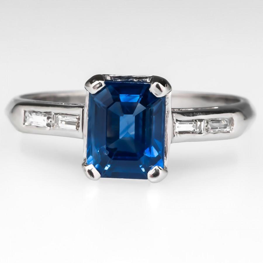 Mariage - Sapphire Engagement Ring – Vintage1.27 Carat Emerald Cut Blue Sapphire With Diamond Baguette Accents - Platinum Engagement Ring - WMHH428