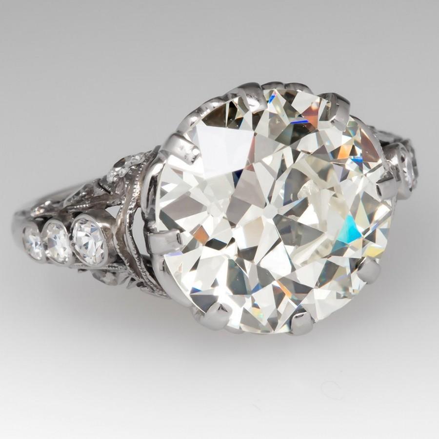 زفاف - Antique Engagement Ring –6 Carat Old European Cut Diamond - GIA Certified - Platinum Engagement Ring - CNGL11803