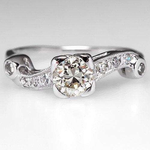 زفاف - Vintage Engagement Ring –1940s Old European Cut Diamond With Accents - 14K White Gold Engagement Ring - WM8840