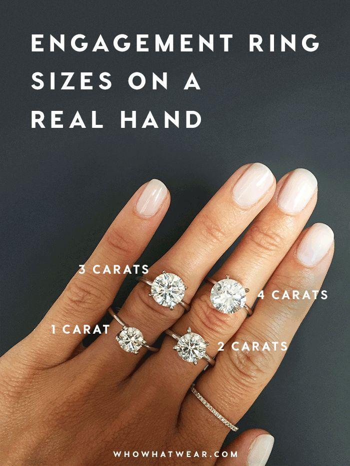 زفاف - A Side-by-Side Carat Comparison Of Different Engagement Ring Sizes
