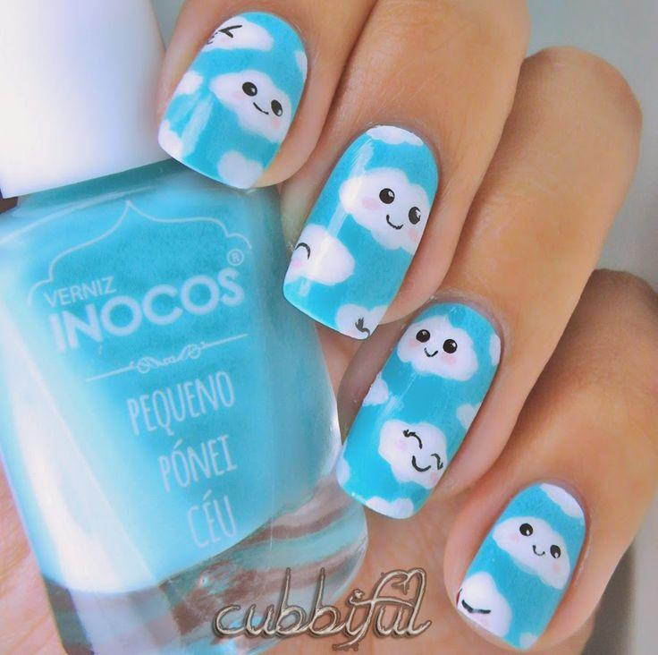 Nail - Adorable Little Clouds Nail Art