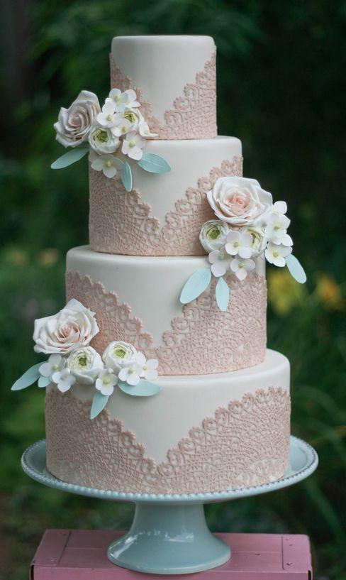 Wedding - 40  So Pretty Lace Wedding Cake Ideas