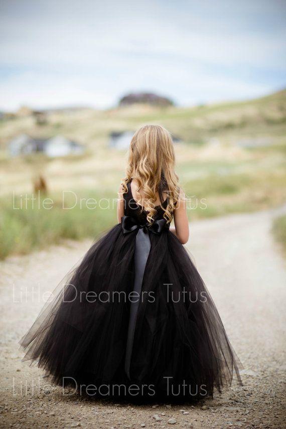 Wedding - NEW! The Juliet Dress In Black With Rhinestone Sash - Flower Girl Tutu Dress
