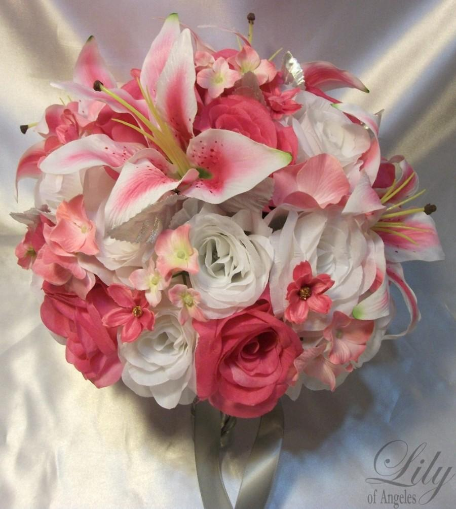 "Wedding - 17 Piece Package Wedding Bridal Bouquet Flower Bride Decoration Package FUCHSIA WHITE LILY ""Lily of Angeles"" FUWT02"