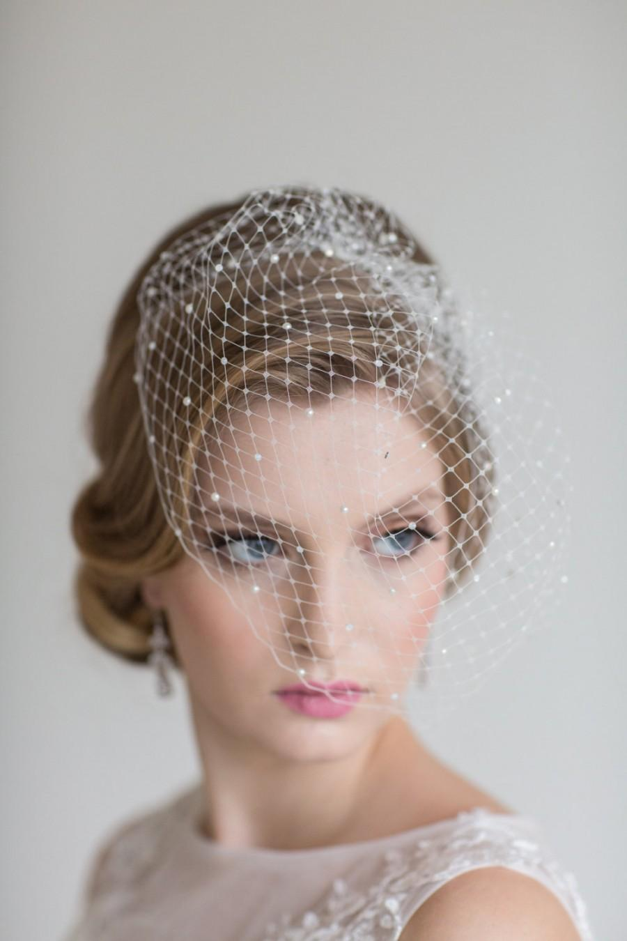 Свадьба - Wedding Beaded Birdcage Veil, Birdcage Veil with scattered Crystals and Pearls, Bridal Veil, Wedding veil, Wedding Birdcage