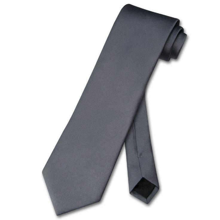 Свадьба - Vesuvio Napoli NeckTie Solid CHARCOAL GREY Color Men's Dark Gray Neck Tie