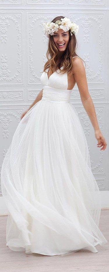 Wedding - Spaghetti Straps Bridal Gown Garden Wedding Beach Style