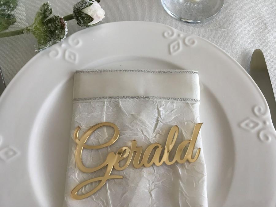 Laser cut names wedding place cards gold mirror plate names laser cut names wedding place cards gold mirror plate names acrylic wedding place card wedding decor place setting event decoration junglespirit Gallery
