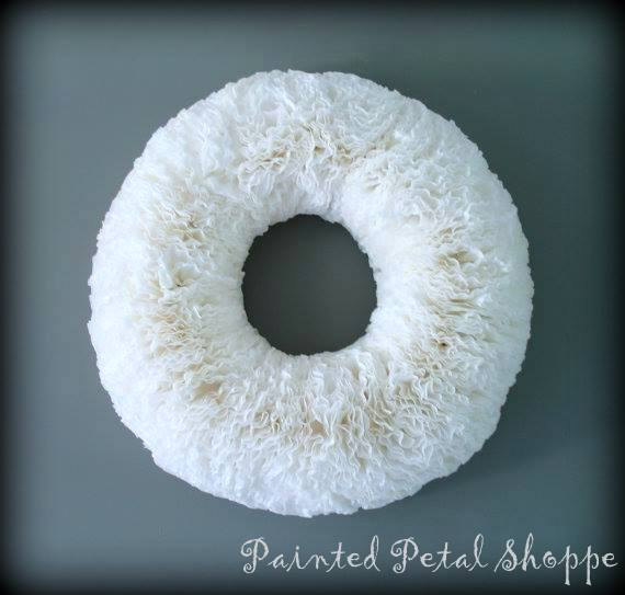 "Wedding - Coffee Filter X-Large Wall Wreath / 23"" Coffee Filter Wreath / Custom Order"