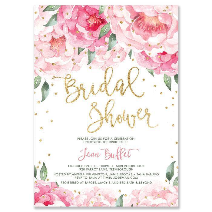 "Wedding - ""Jenn"" Pink Blooms   Gold Bridal Shower Invitation"