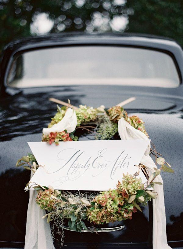 Wedding - Elegant Wedding Getaway Car Wreath