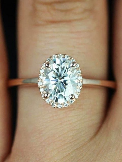 Свадьба - 1.32ct G-SI1 Oval Diamond Engagement Ring GIA Certified 18kt Gold Gold