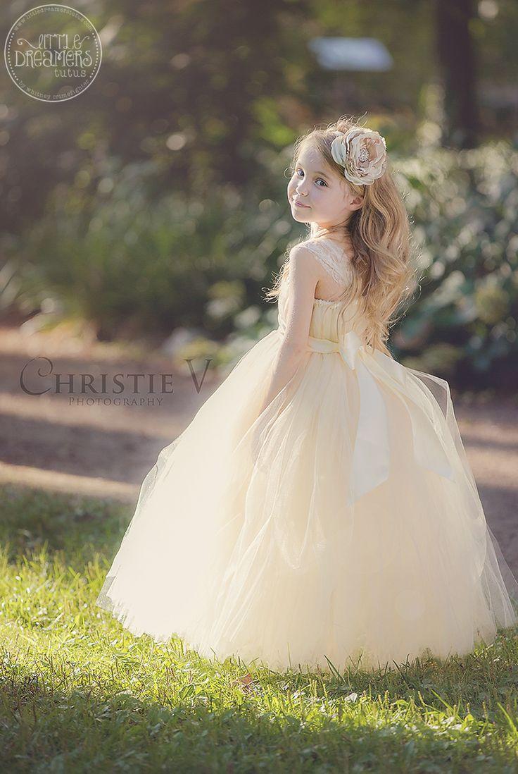 Mariage - Ivory Champagne Tutu Dress With Flower Sash