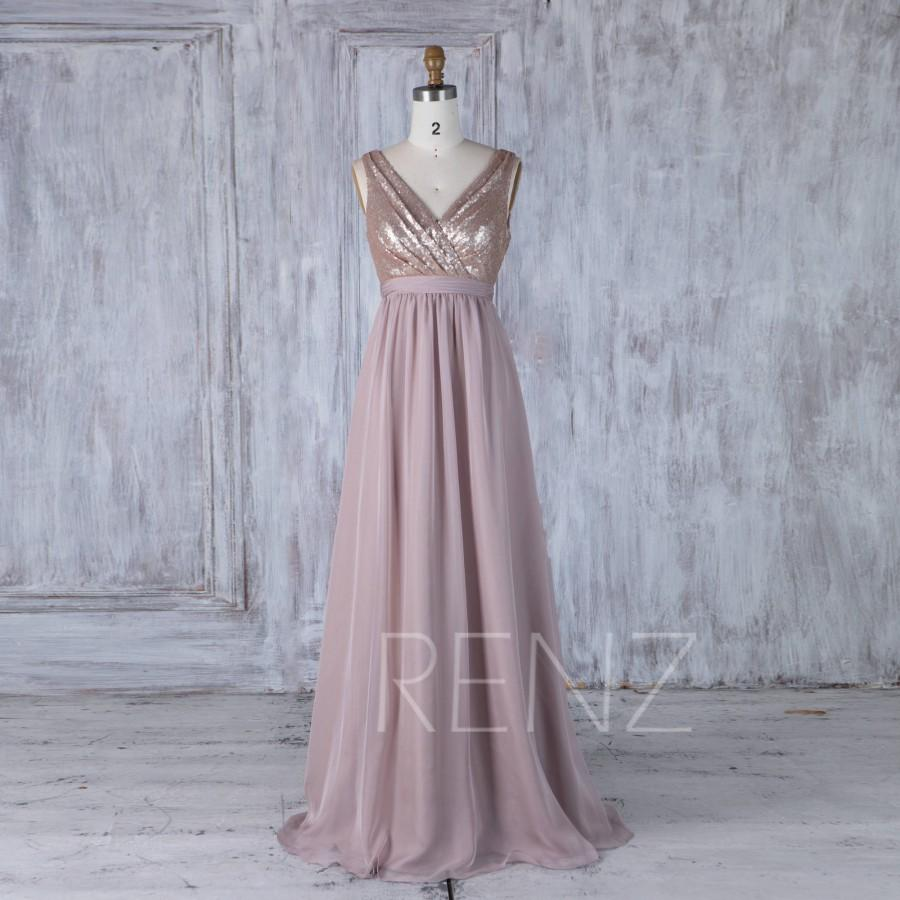 Mariage - 2016 Tan Sequin Bridesmaid Dress, Rose Gray Chiffon V Neck Wedding Dress, Long Prom Dress, Formal Dress, Party Dress Floor Length (TQ180)