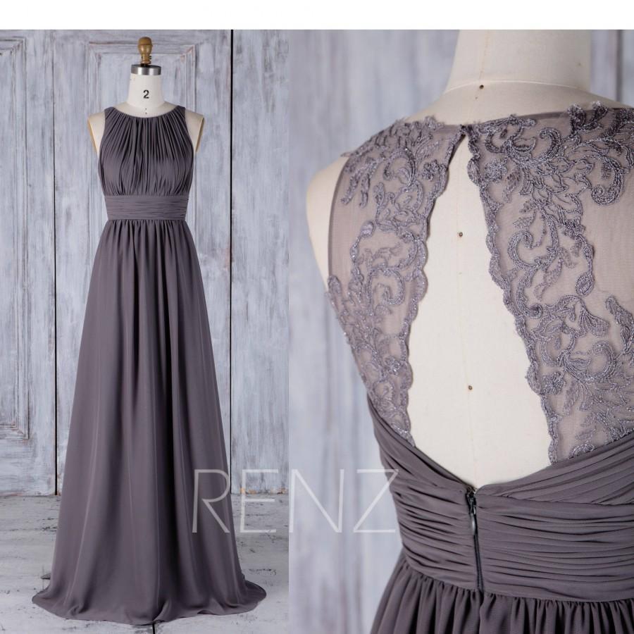 Mariage - 2017 Medium Gray Chiffon Bridesmaid Dress, Ruched Bodice Wedding Dress, Lace Back Prom Dress, A Line Formal Dress Floor Length (H489)