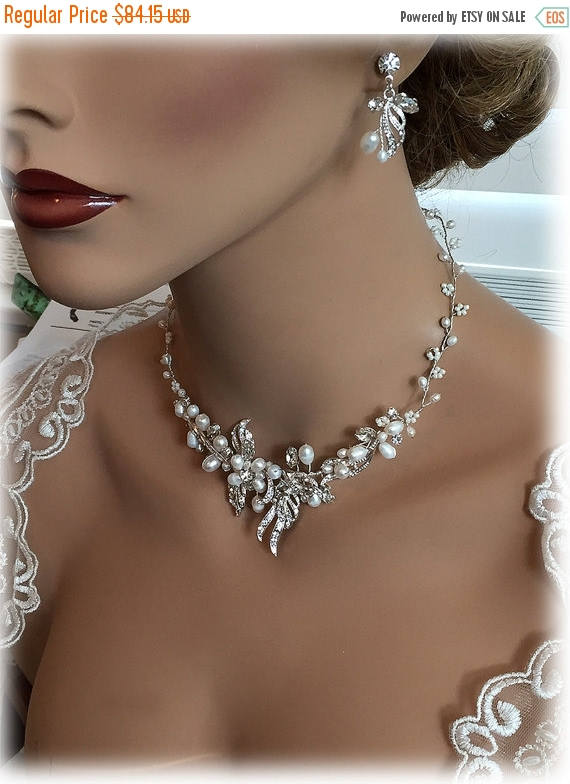 Mariage - Bridal jewelry set, bridal necklace, Wedding jewelry, pearl jewelry set, Fresh water pearl necklace, wedding necklace, bridal statement set