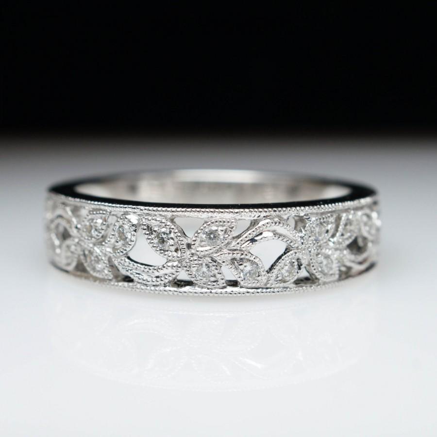 Свадьба - Flower Pattern Open Diamond Wedding Band Wedding Ring 14k White Gold Anniversary Band Anniversary Ring Flower Ring Flower Band Diamond