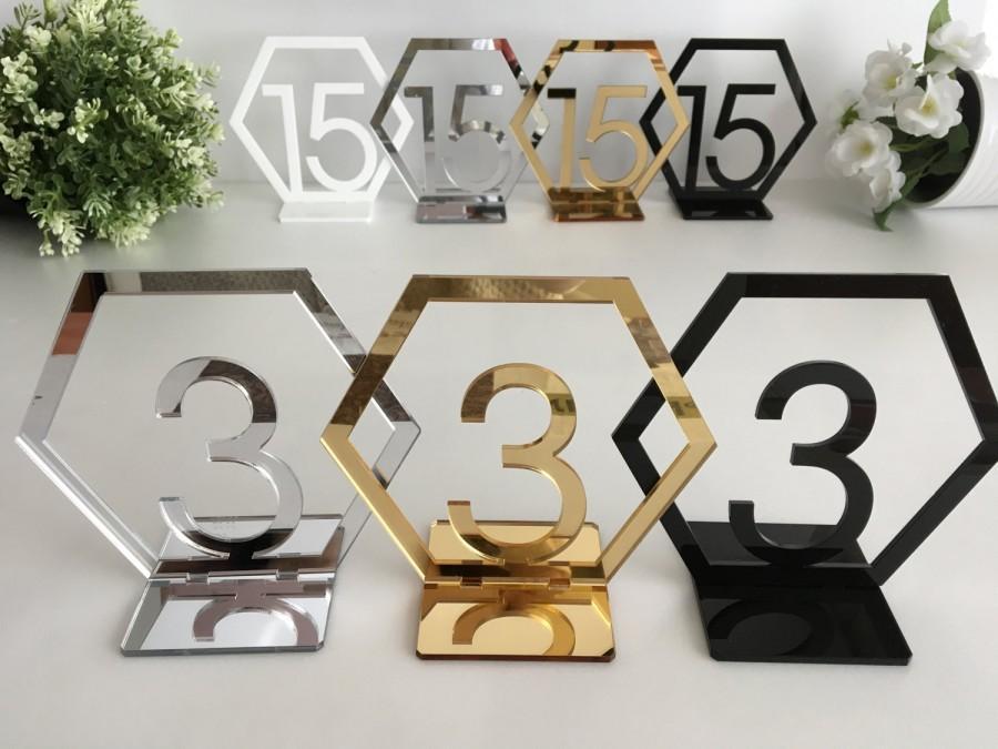 زفاف - Geometric Table Numbers, Hexagon Table Numbers, Reception table numbers, Wedding freestanding numbers Wedding Sign, Gold wedding centerpiece