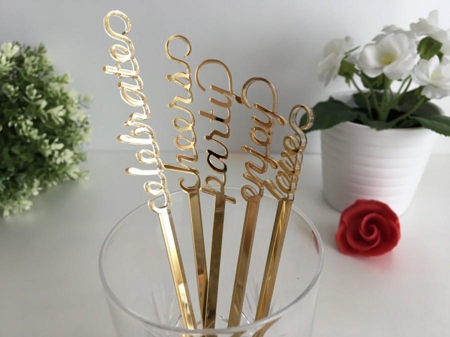 زفاف - Drink Stirrers, Gold Mirrored Acrylic Drink Stirrers, Wedding Bachelorette, Engagement Party Stir Sticks Personalised Cocktail Swizzle Stick