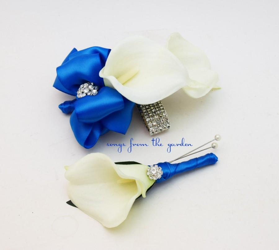 Mariage - Royal Blue and White Callas and Rhinestones Real Touch Wedding Boutonniere and Corsage - Wedding Homecoming Prom Corsage