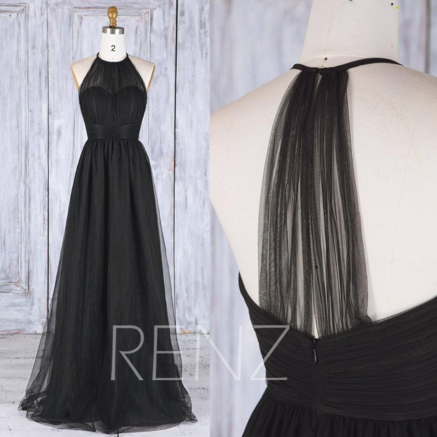 Mariage - 2017 Black Tulle Bridesmaid Dress, Sweetheart Illusion Wedding Dress, A Line Prom Dress, Long Halter Ball Gown Party Dress (HS488)