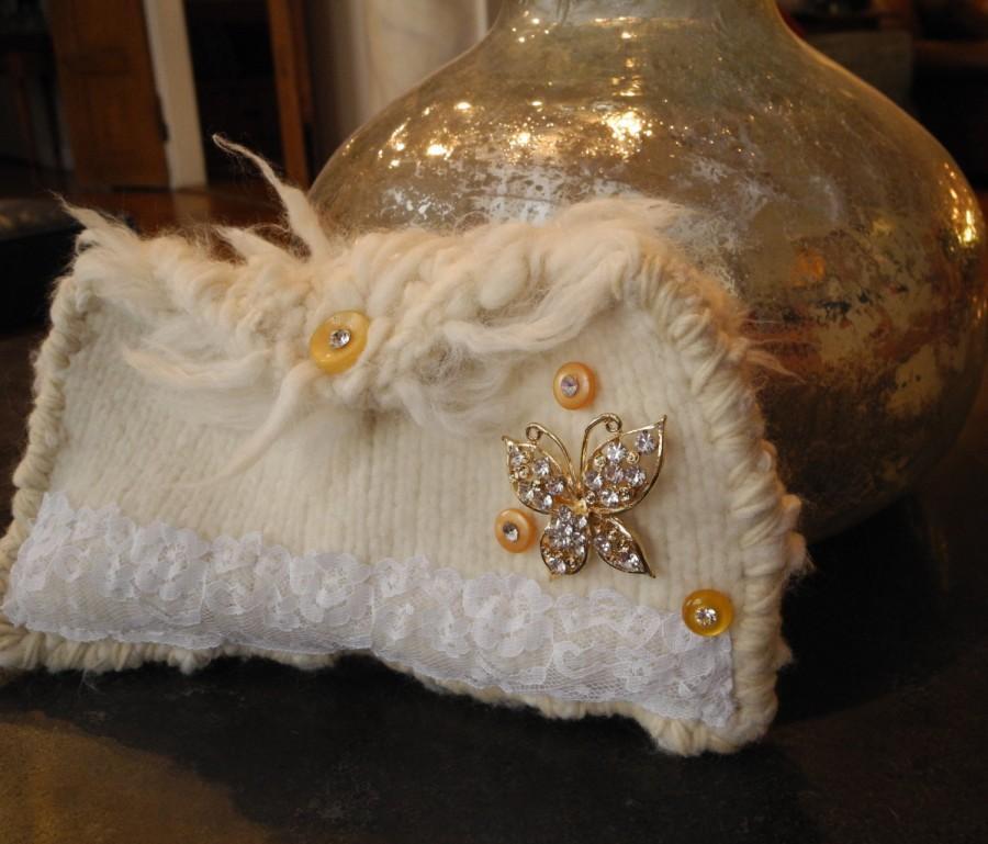 Wedding - Hand Knit Ivory Felt Rustic Eco Chic Wedding Clutch - Rhinestone Butterfly