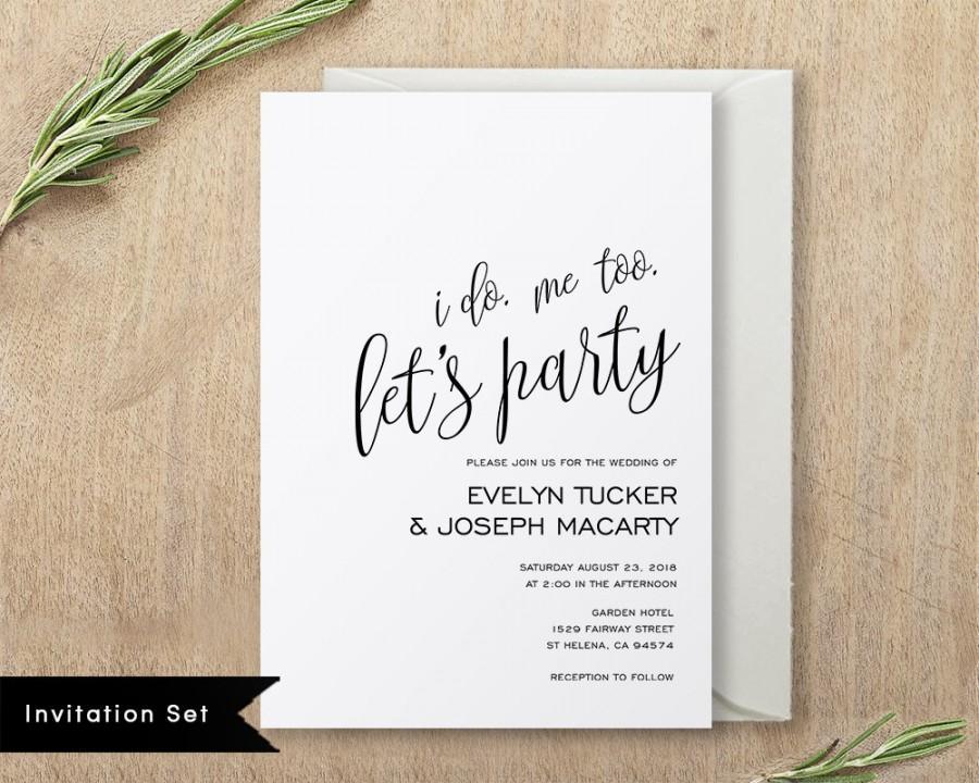 Hochzeit - Printable Wedding Invitation Template Wedding Invitation Set DIY Wedding Invite Instant Download Editable PDF Modern Calligraphy #SPP013_wis
