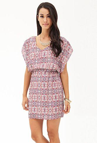 Mariage - Printed Double-V Batwing Dress
