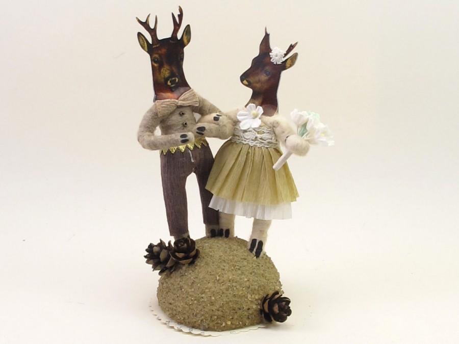 زفاف - Vintage Style Spun Cotton Stag And Doe Deer Wedding Topper