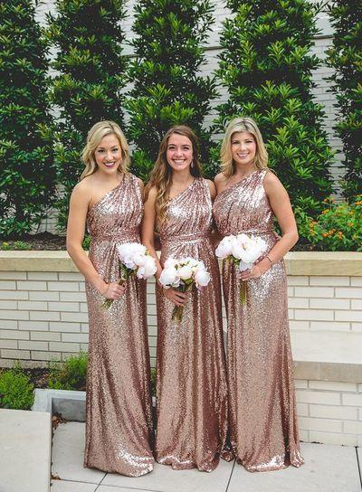 Wedding - Rose Gold Sequins Bridesmaid Dress, Long Bridesmaid Dress,2017 One Shoulder Bridesmaid Dress From Modsele