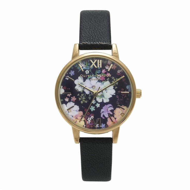Mariage - Olivia Burton Flower Show Black And Gold Watch