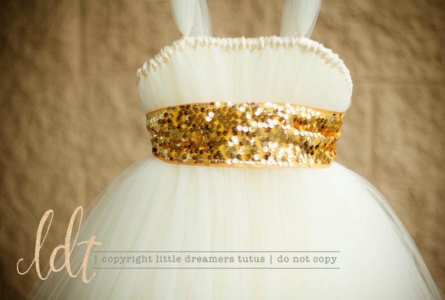 Wedding - Ivory with Gold Sequin Sash - Flower Girl Tutu Dress