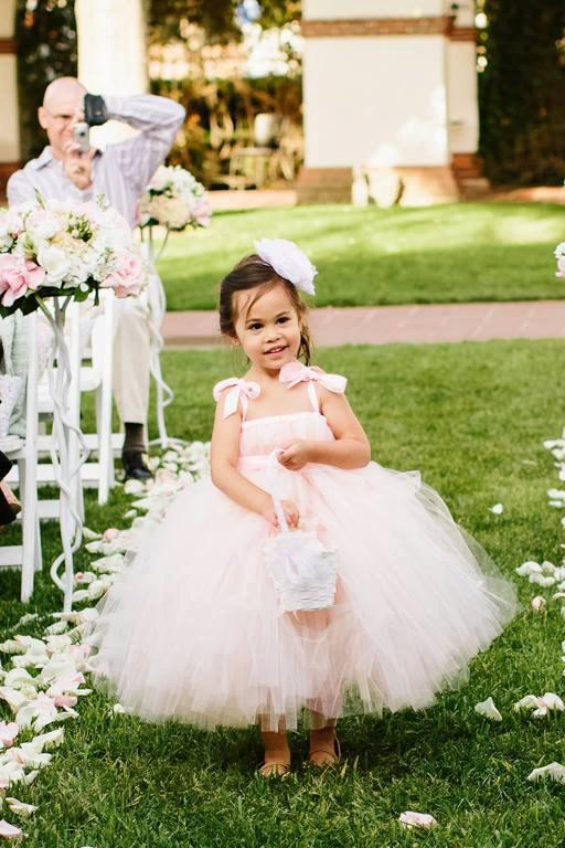 Wedding - Pink Blush Flower Girl Tutu Dress