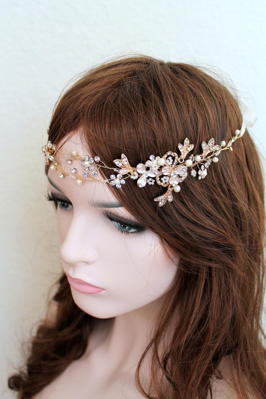 Hochzeit - Gold Leaf Vine Bridal Headpiece. Boho Rose gold Crystal Pearl Wedding Wreath. Halo Headband. Silver Rhinestone Floral Hairpiece. TEREZ