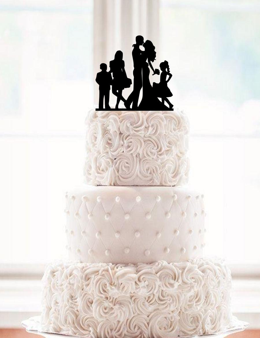 Mariage - Silhouette Dancing Bride and Groom Wedding Cake Topper with a children Groom Dancing Cake Topper family kids son daugther family silhouette