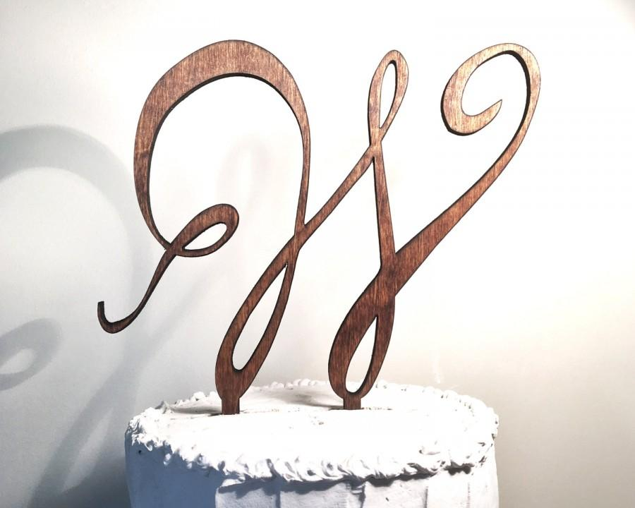 Mariage - Wooden Wedding Cake Topper: Letter W, Monogram Cake Topper, Rustic Cake Topper, Handmade Cake Topper